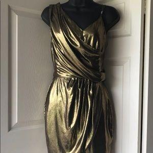 🧡River Island Gold Grecian Dress Sz 6🧡